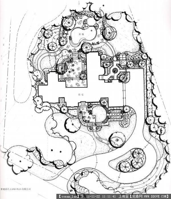别墅景观手绘平面图_图库