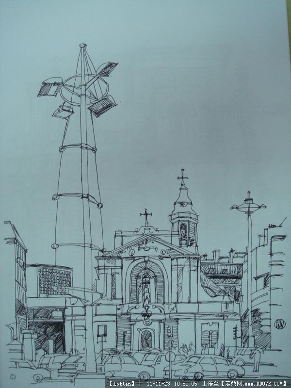 《钢笔画建筑临摹图》