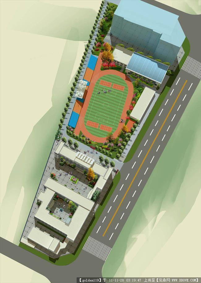 刚完成的某小学校园绿化效果图