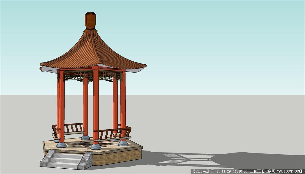 sketchup 六角亭模型
