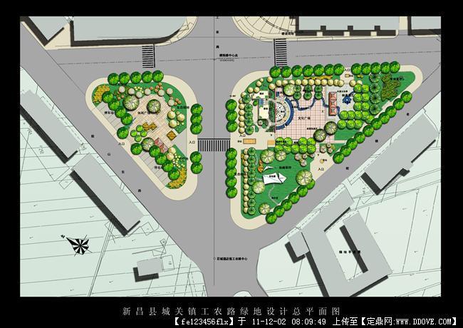 道路交叉口绿化设计效果图