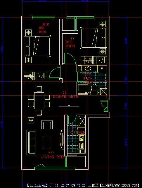一张住宅建筑cad图 两室一厅平面户型