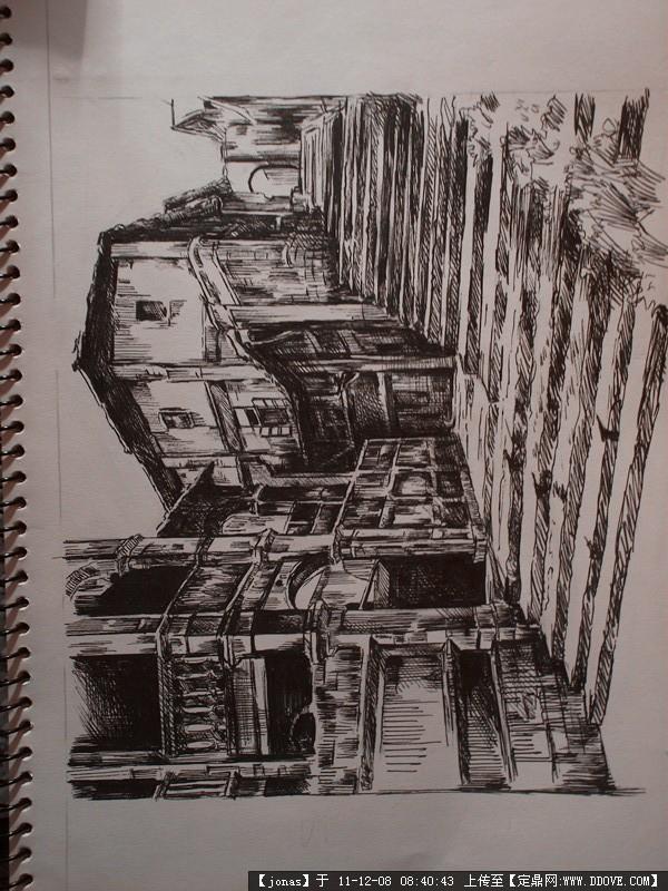 一张建筑手绘图