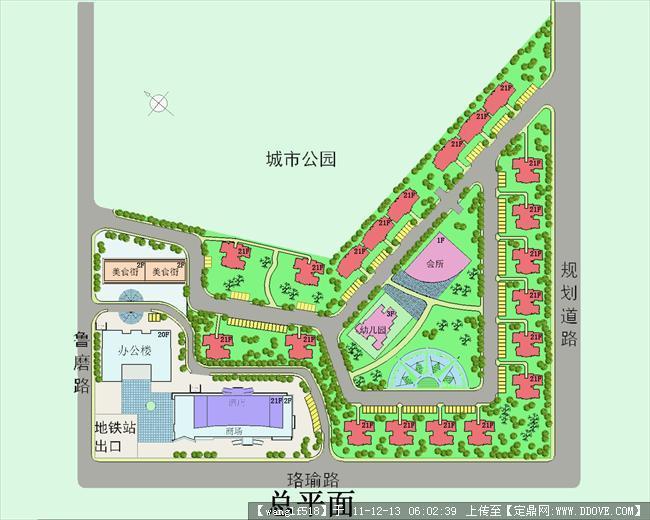 小区规划快题设计-总平面彩色.jpg