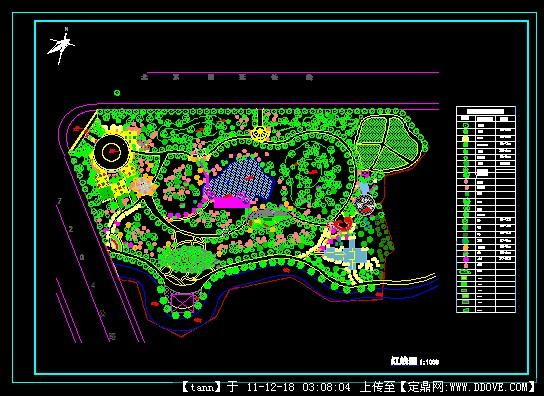公园cad图有植物配置土