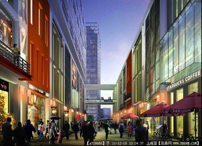 某商业街道建筑效果图psd格式