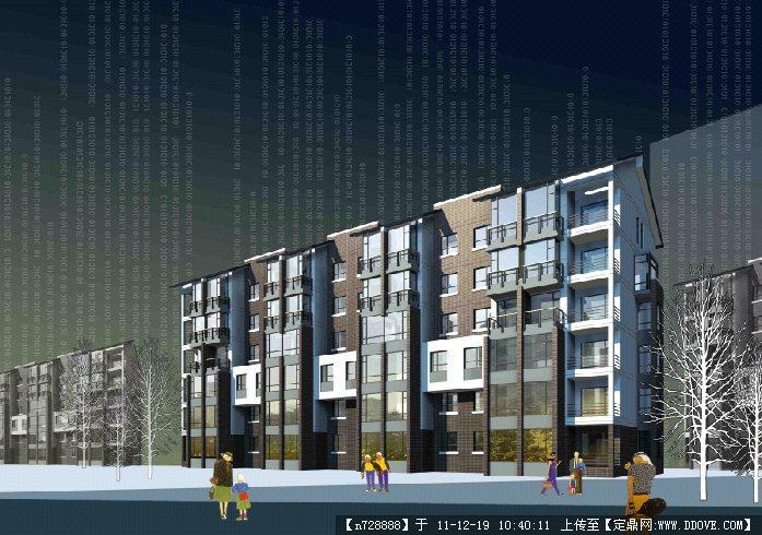 某居住区单体多层建筑效果图psd格式