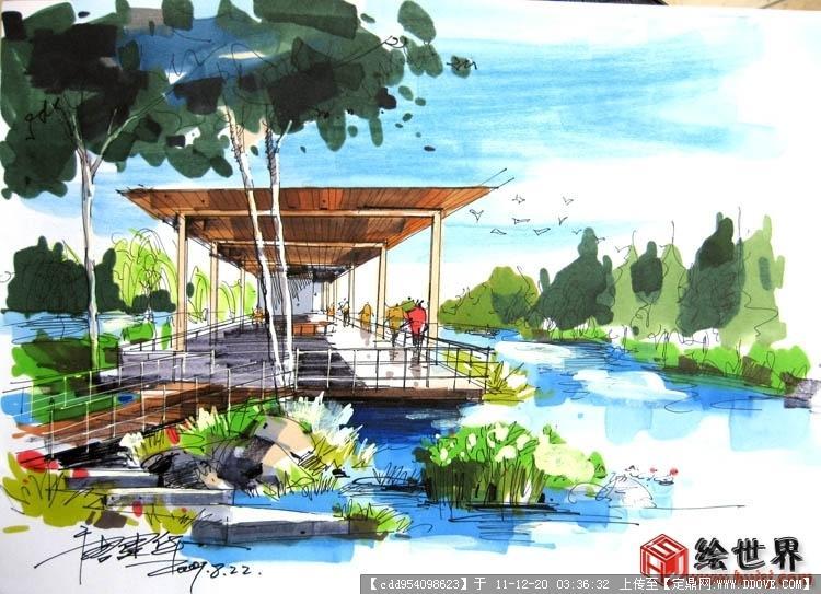 景观园林手绘效果图 景观亭子手绘效果图 环艺景观手绘效