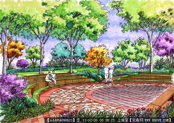 各种实用休闲设施/景观节点的手绘效果图