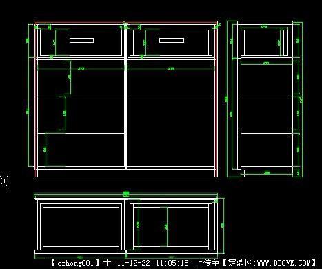 手绘书柜三视图_家具;