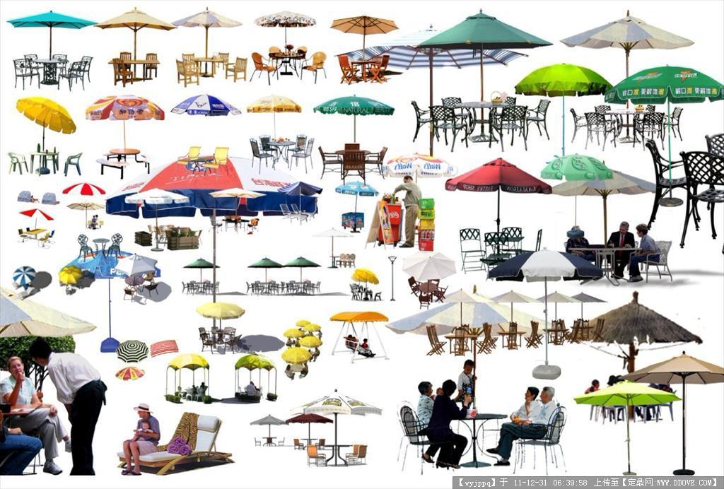 高清psd格式广场公园遮阳伞素材
