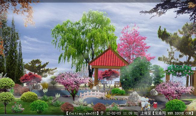 某中心花园水景节点效果图