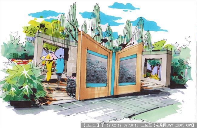 公园景墙手绘效果图