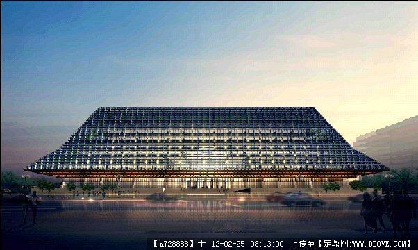 某东南亚风格建筑夜景效果图psd格式