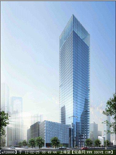 玻璃建筑效果图_某方形玻璃幕墙大厦建筑效果图psd格式