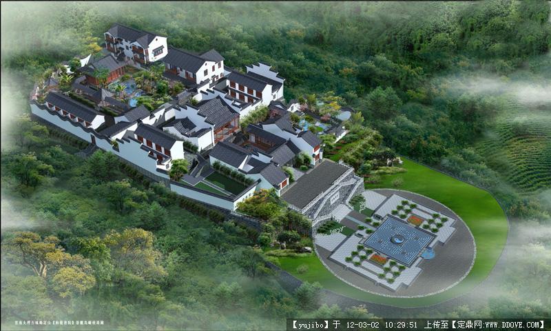 中国古建筑效果图_建寺院规划设计佛教寺庙设计古建筑效果图公