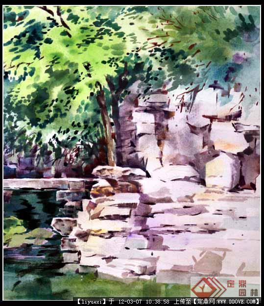 室内彩铅手绘效果图; 公园喷泉手绘效果图图片分享