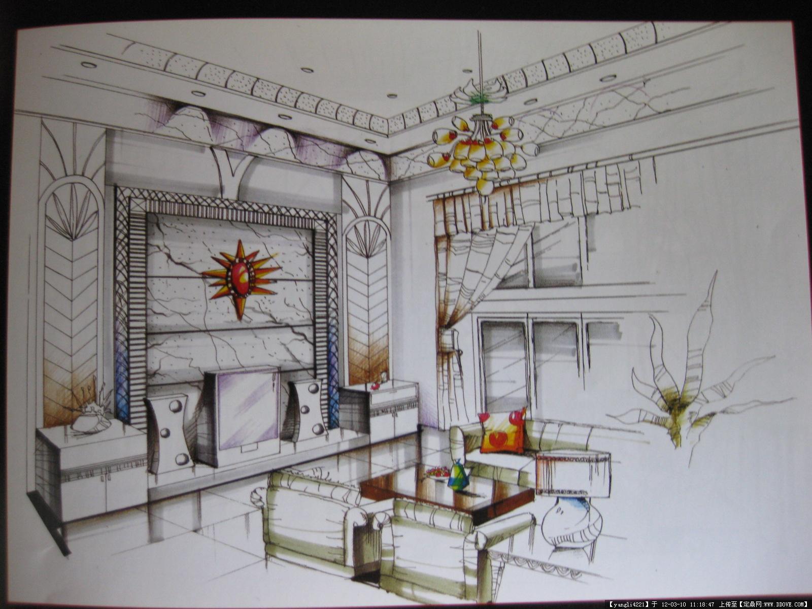 手绘室内效果图的图片浏览,室内效果图,住宅样板,室内