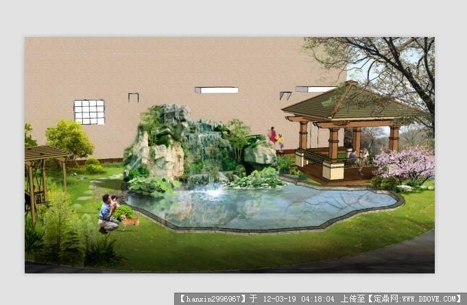 花园假山水池平面设计图