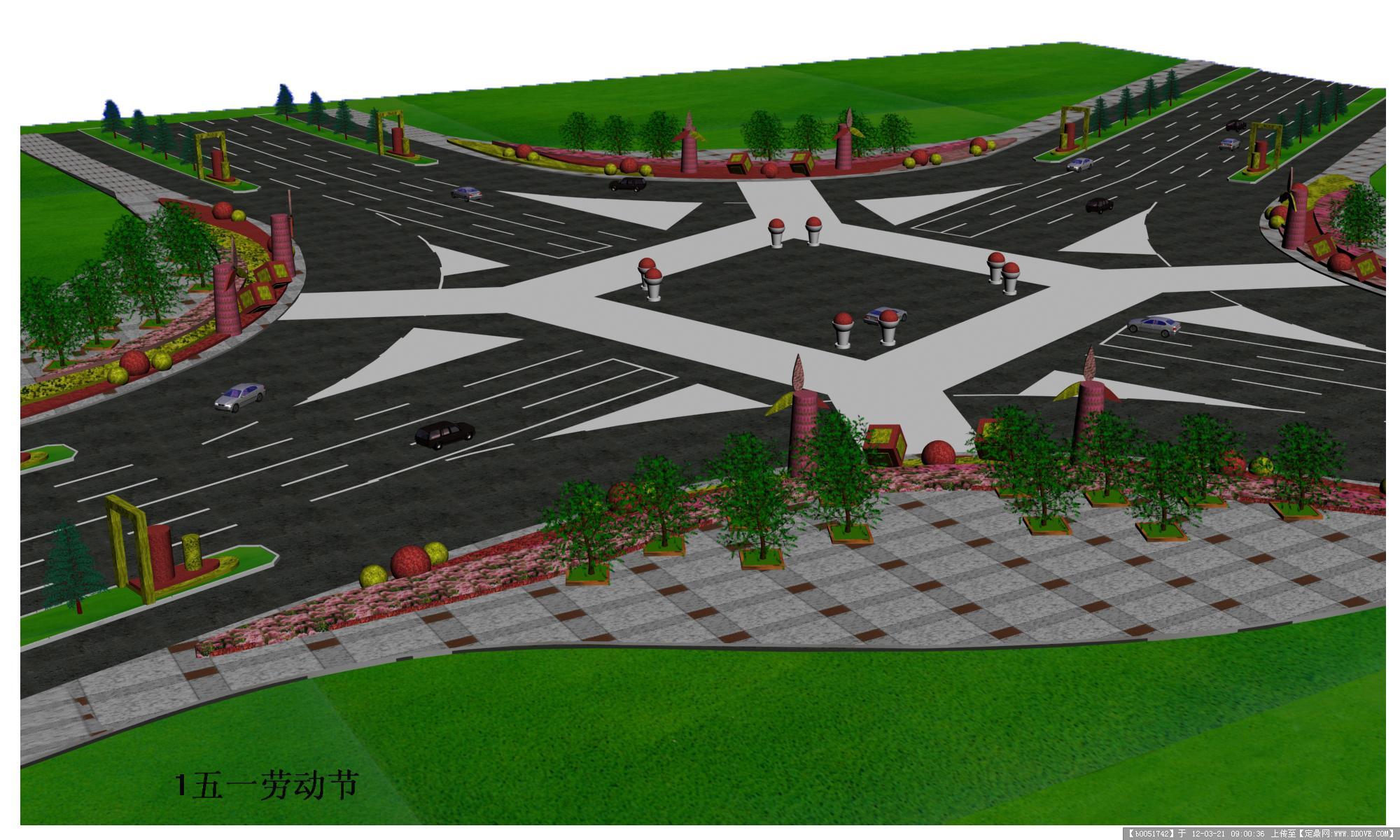 大型十字路口鲜花摆放方案