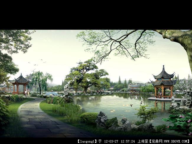 中式风格园林效果