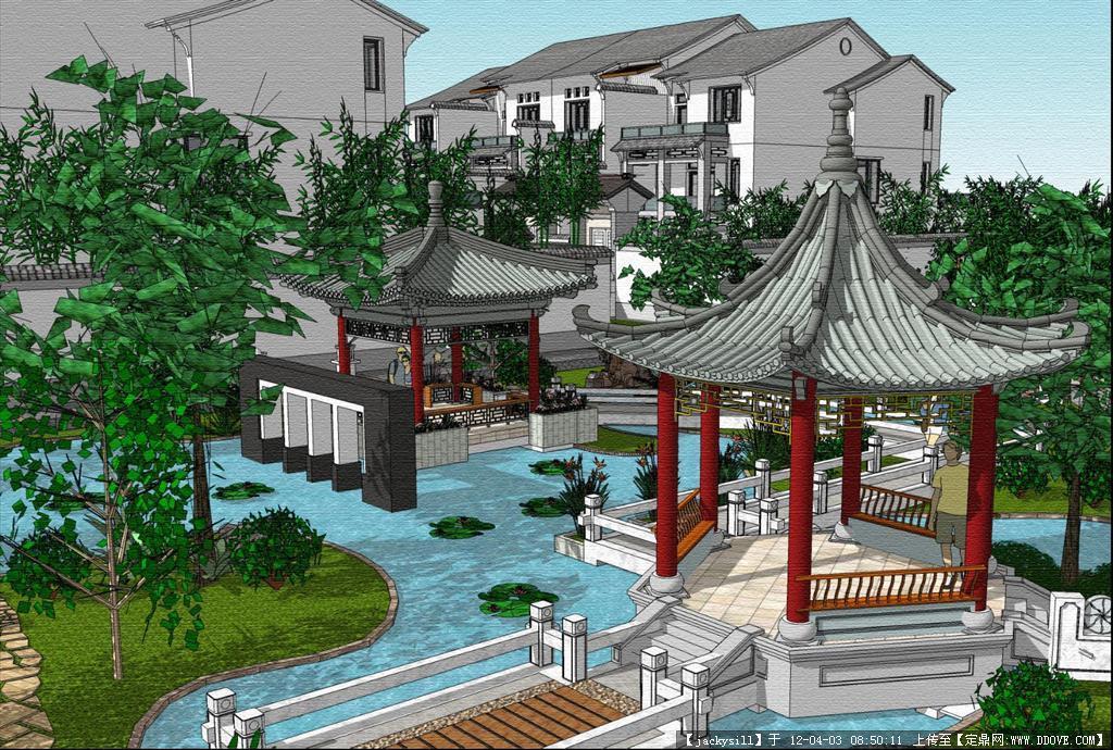 中式园林景观设计的下载地址,sketchup草图大师模型