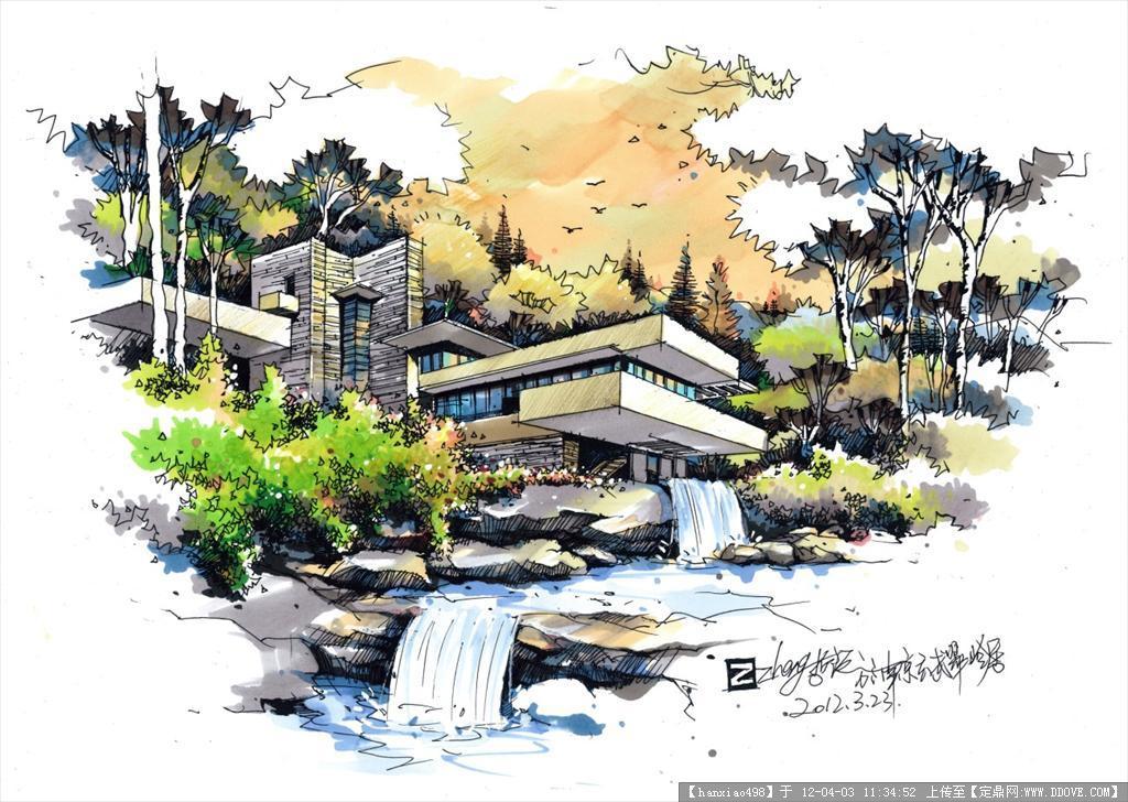 园林效果图; 定鼎网 定鼎园林 园林效果图 手绘效果 流水别墅 景观 不