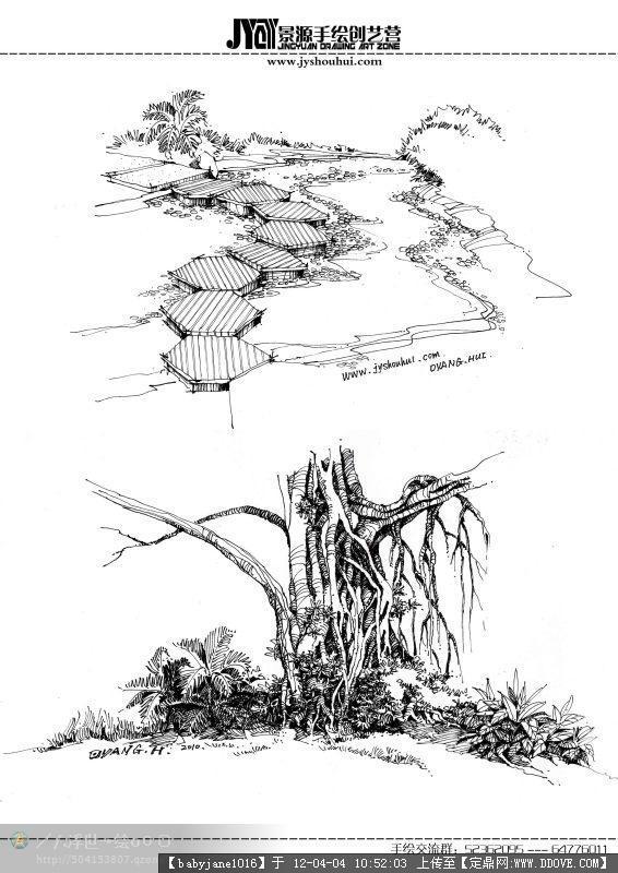 园林平面单体手绘素材