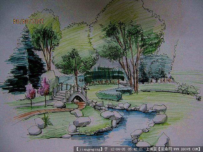 园林亭子手绘效果图