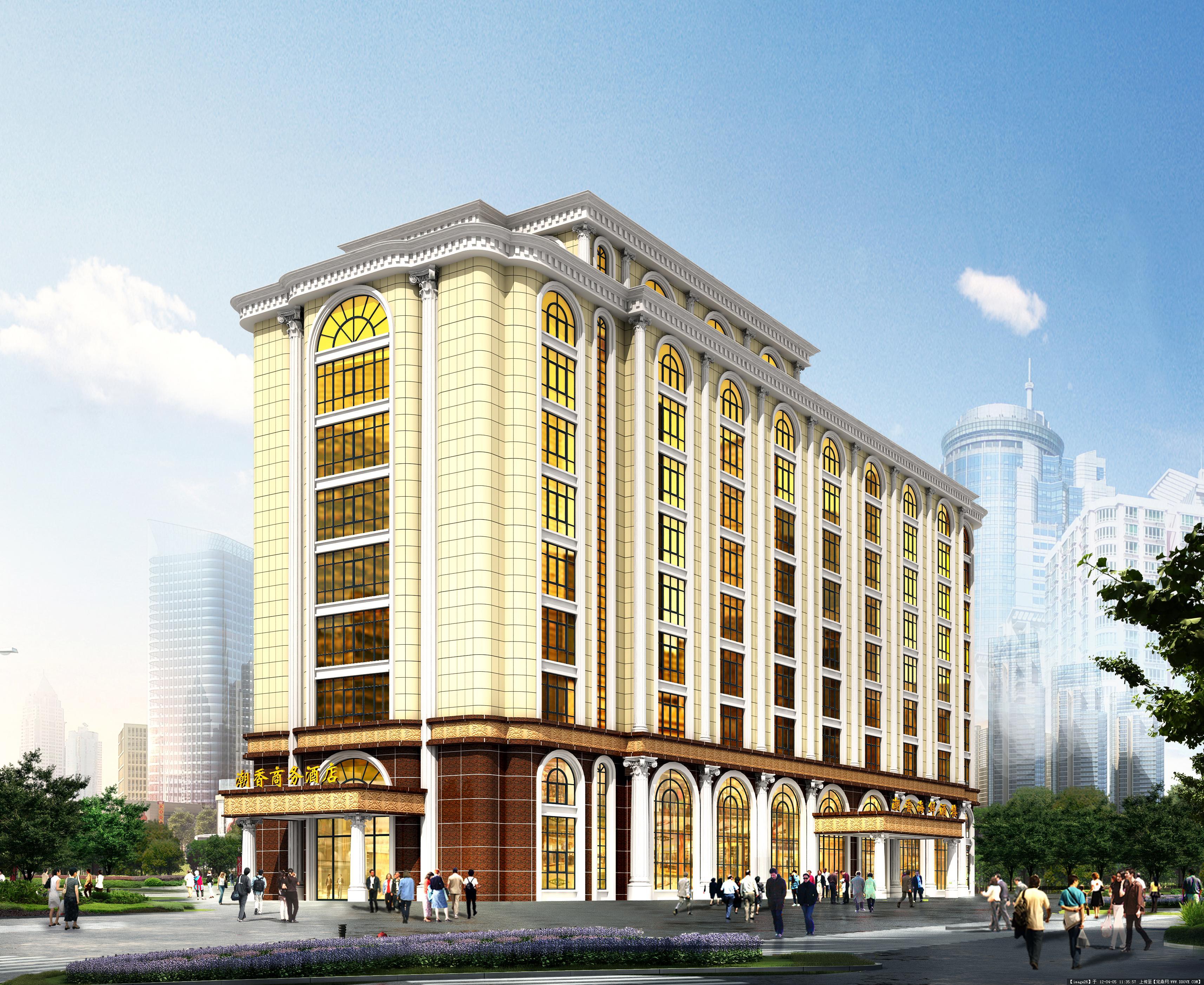 某酒店外观设计图的图片浏览,建筑效果图,公共建筑图