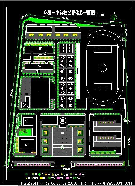 中学校区绿化总平面图