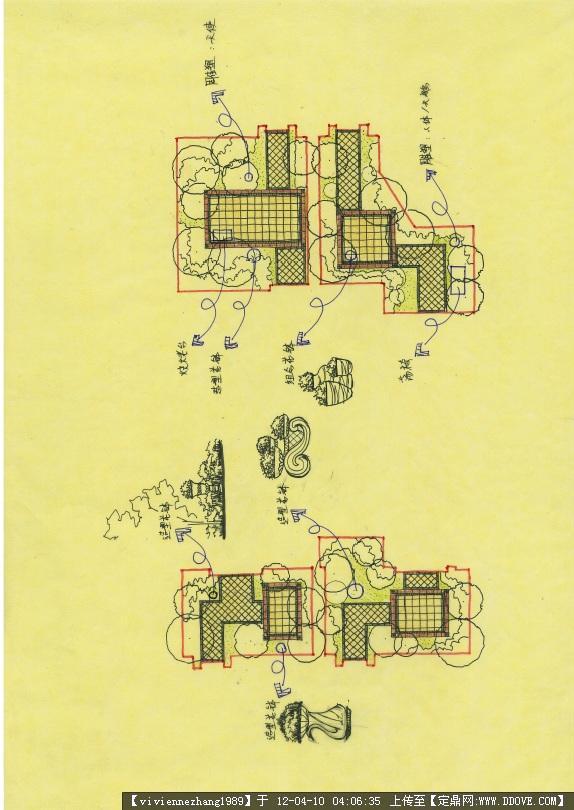 欧式风格小庭院设计(cad+手绘平面效果全套)