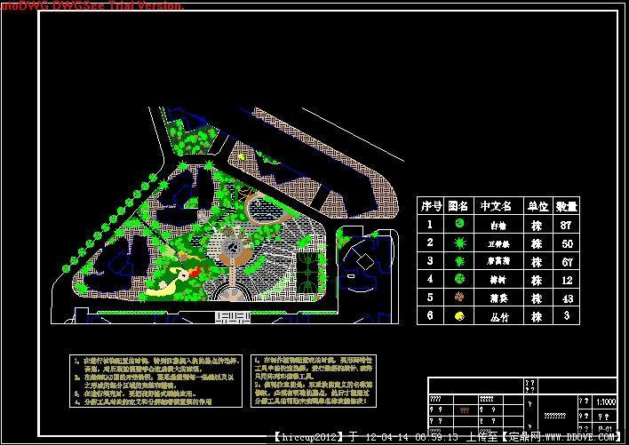 定鼎网 定鼎园林 园林方案设计 公园景观 中央绿地平面图  序号 文件