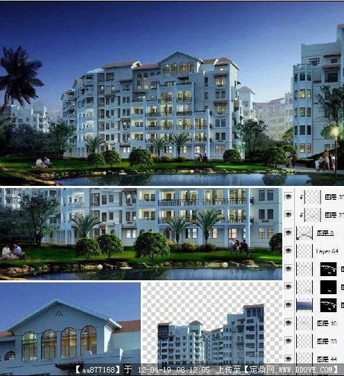 欧式住宅区建筑夜景分层效果图