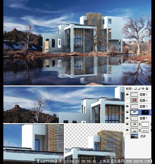 滨水别墅建筑分层效果图