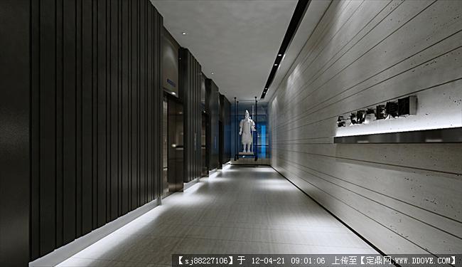 办公楼施工图 附带平面图效果图 1电梯入口厅 1.jpg