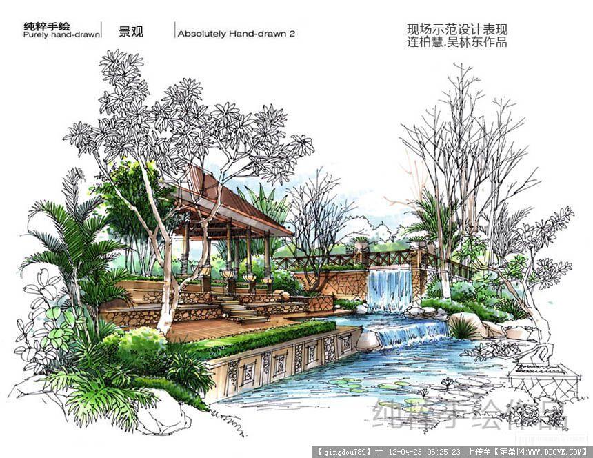 连柏慧手绘作品的图片浏览,园林效果图,手绘效果,园林