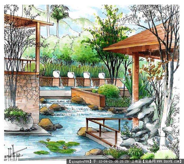 手绘效果图   手绘效果图园林绿化设计图   手绘园林景观 效