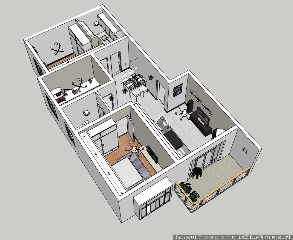 90平米户型模型带室内装饰高清图片