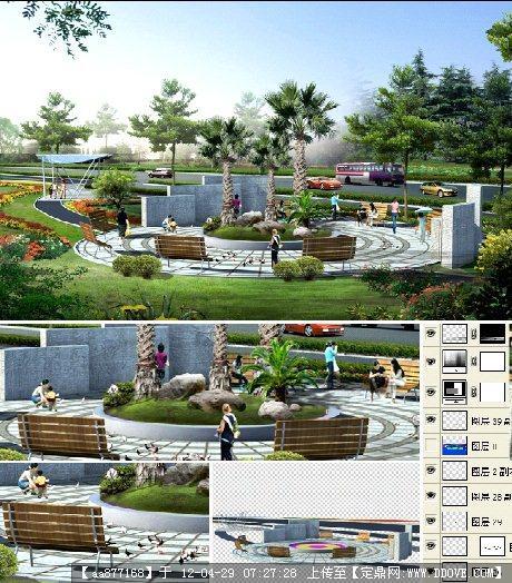 公园广场景观psd效果图的下载地址,psd模版,园林效果
