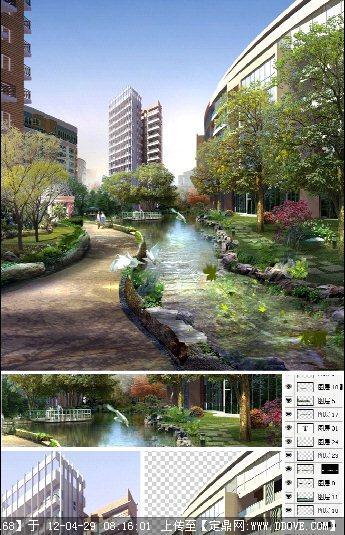 平面透视图_小区水景节点景观PSD效果图