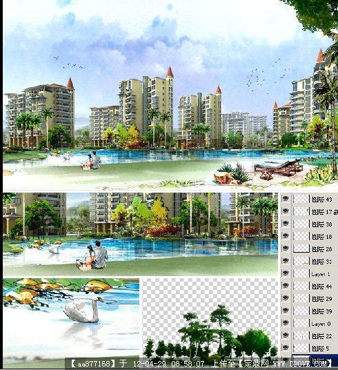 居住区绿化手绘景观psd效果图