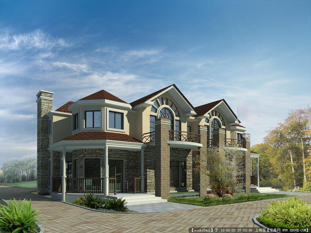 别墅psd效果图的下载地址,psd模版,建筑效果图,园林