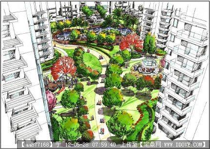 纯手绘苏州湖畔花园规划设计文本
