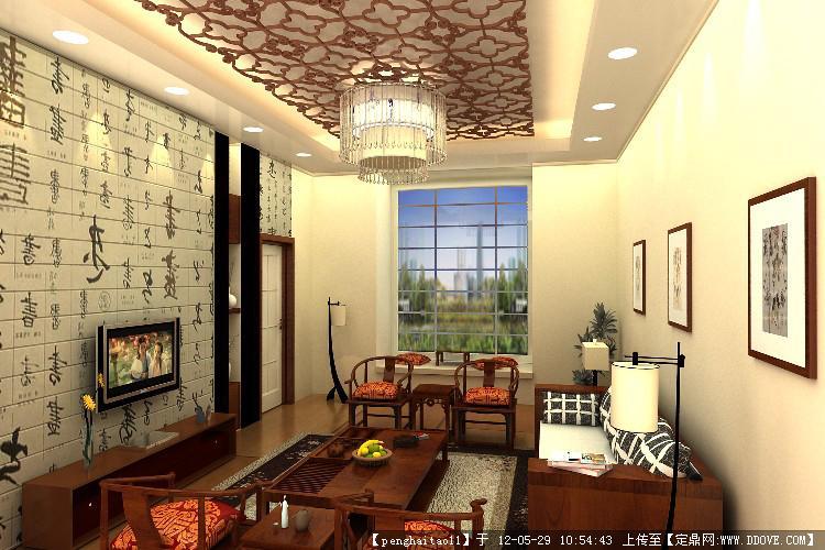 新中式客厅效果图 3dmax的下载地址,室内项目案例,,.