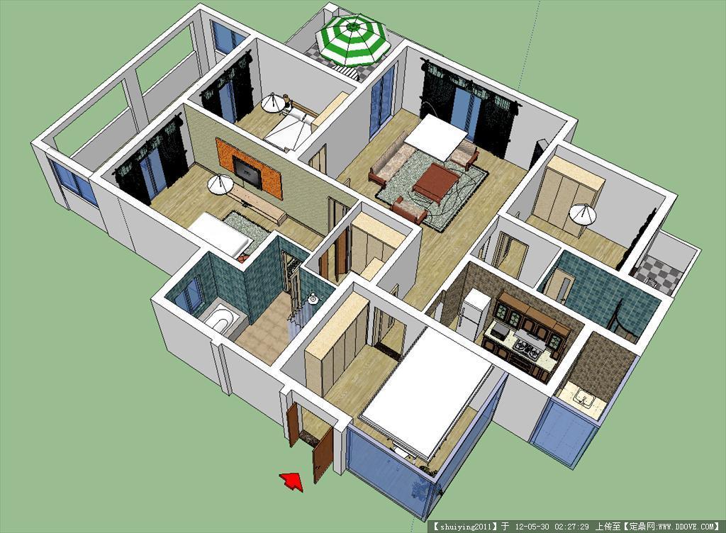 一层别墅室内设计模型高清图片