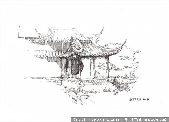 苏州园林水景手绘
