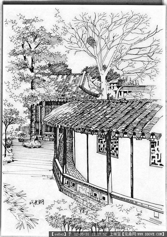 苏州园林手绘图图片_苏州园林手绘图图片下载