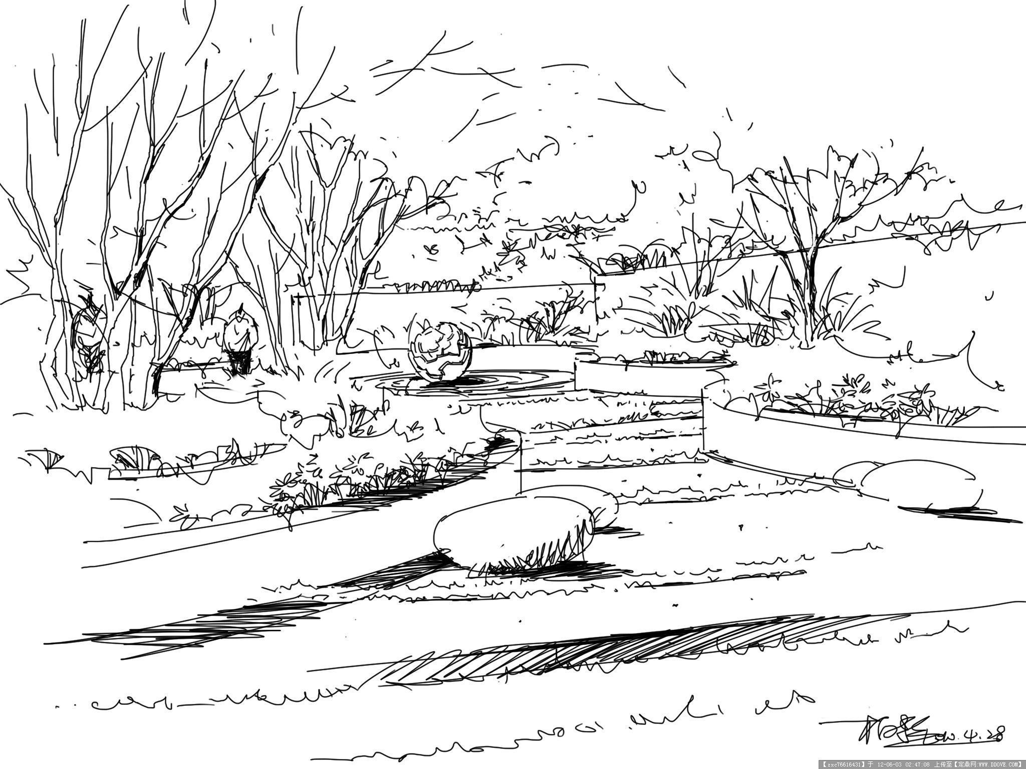 景观效果钢笔画几张-大图的图片浏览,园林效果图,手绘效果,园林景观设计施工图纸资料下载_定鼎园林