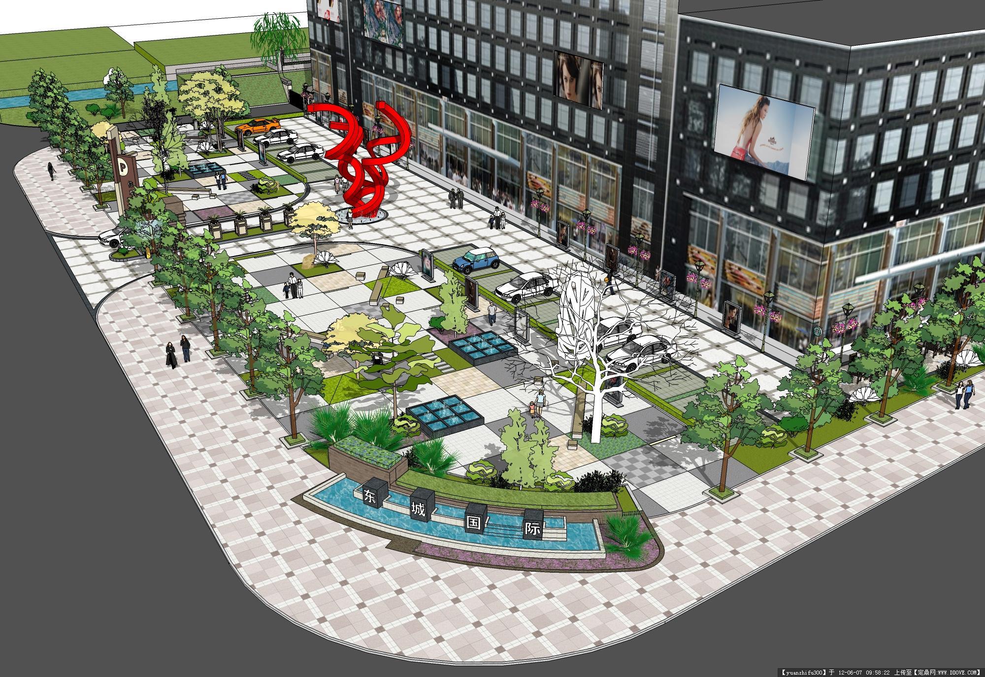 商业街区广场效果图